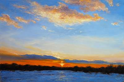 Winter Sunset in Skillman, 23x30