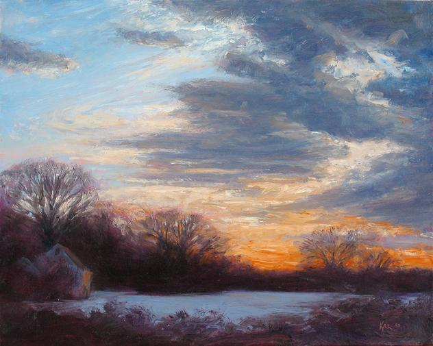 Winter Sunset, Amwell Valley